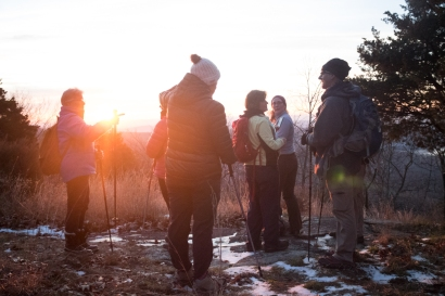 Scenic overlook at sunrise. Winter Solstice 2016 Hike by the Morris County Park Commission